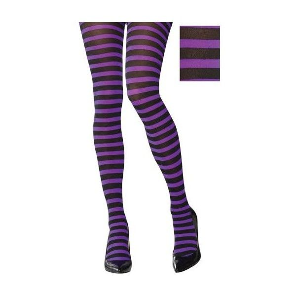 Adult Purple and Black Striped Tights ($6.99) ❤ liked on Polyvore featuring intimates, hosiery, tights, purple striped stockings, purple striped tights, nylon hosiery, opaque pantyhose and opaque stockings