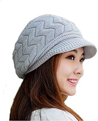 9bbe9abee949c LEORX Cálido invierno de punto sombrero de vendedor de periódicos gorro  nieve esquí Cap para mujer