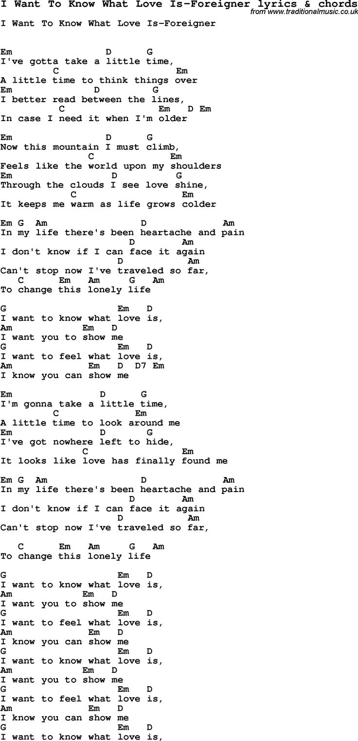 255 best songs images on pinterest music songs and lyrics love song lyrics for i want to know what love is foreigner with chords hexwebz Choice Image