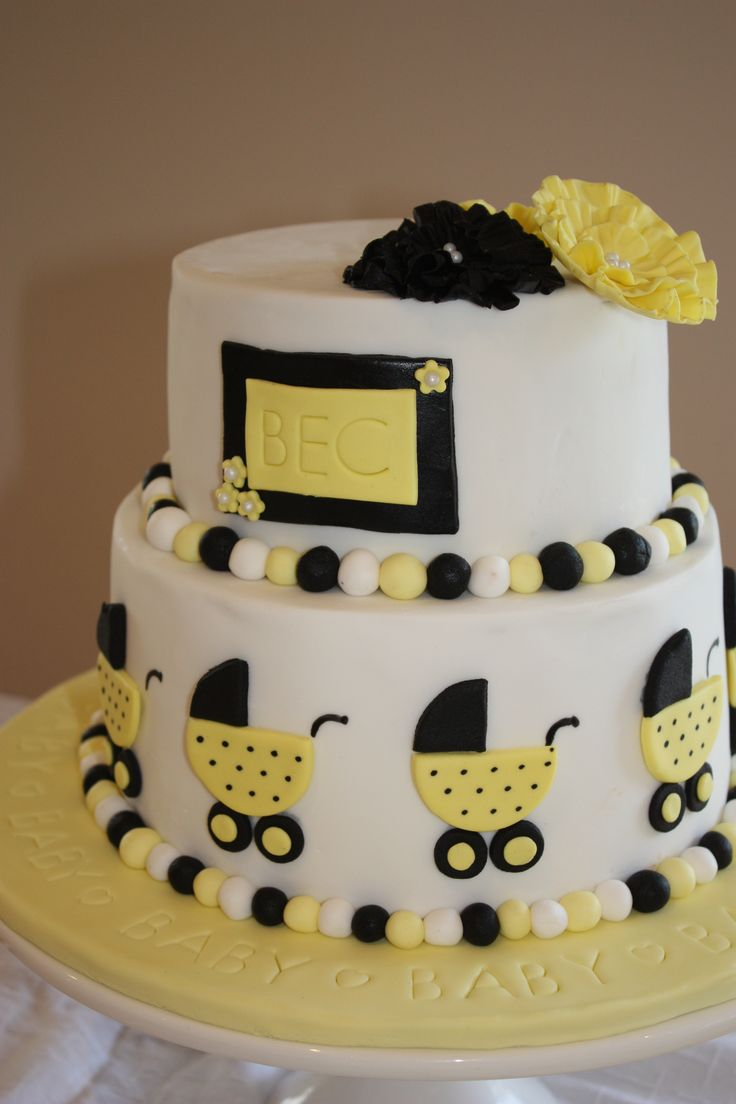 black and yellow cake baby shower baby cakes pinterest