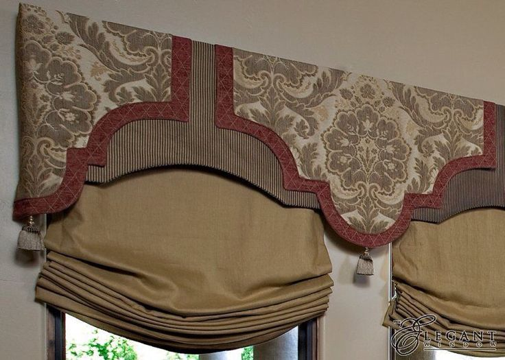 ornate cornice/ valance with relaxed roman shades.  custom draperies DesignNashville.com, online design service.