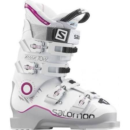 The versatile and smooth flexing Salomon X Max 70 Ski Boots offer a precision 98 mm fit for the less aggressive or lighter woman with a narrower foot who finds herself swimming in mostly softer alpine
