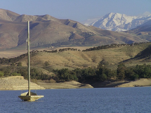 Sailing in the lake of lalla takerkoust