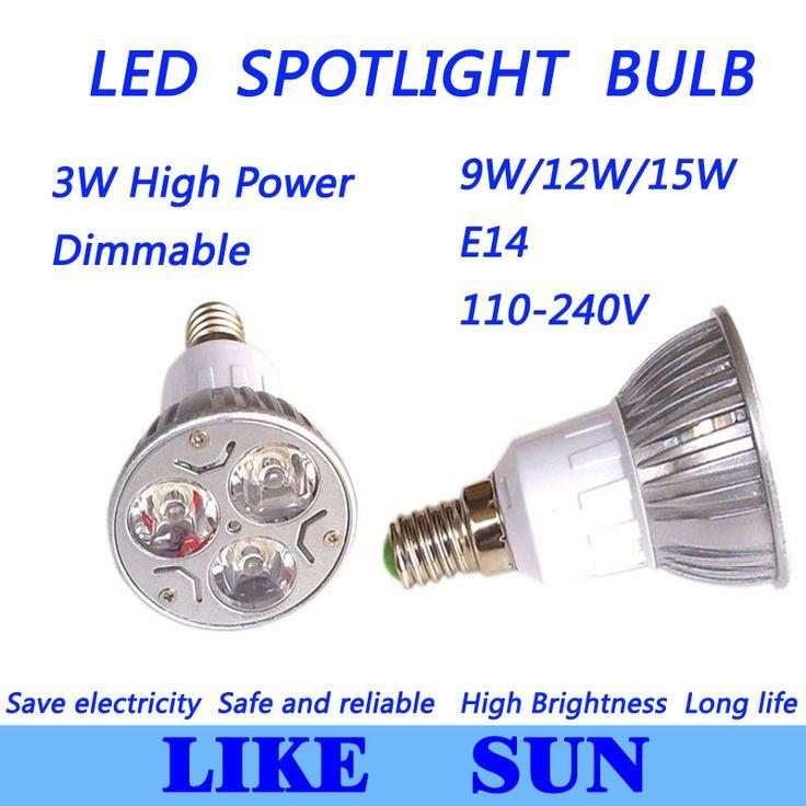 X400 Free shipping High power CREE Led Lamp Dimmable E14  9W 85-265V Led spot Light Spotlight led bulb downlight lighting