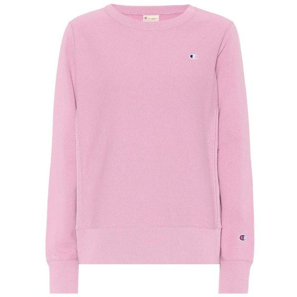Champion Cotton Sweatshirt ($105) ❤ liked on Polyvore featuring tops, hoodies, sweatshirts, pink, cotton sweatshirts, champion sweatshirt, pink sweatshirts and pink top