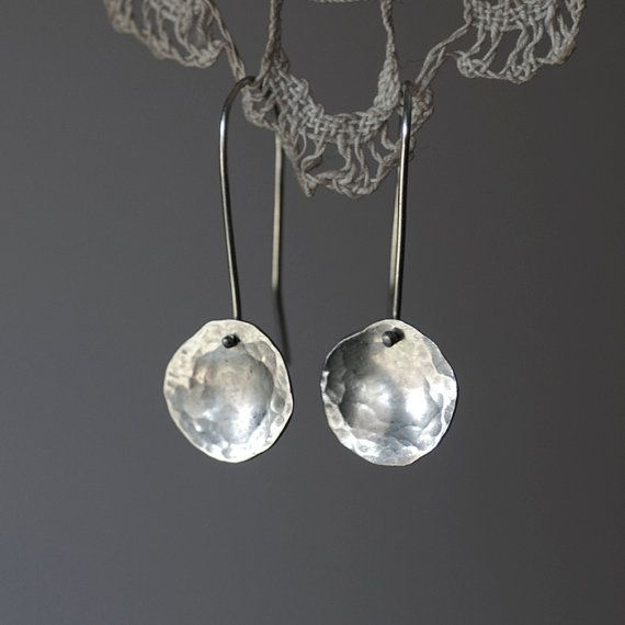 Hammered disc earrings.  Recycled sterling silver