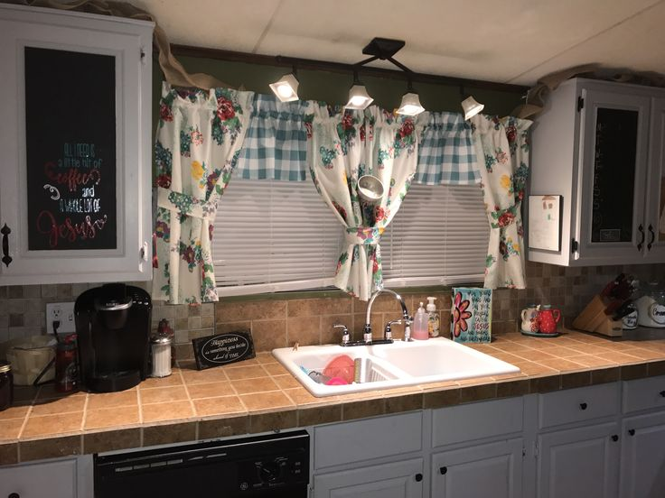 pioneer woman tablecloths made into curtains.