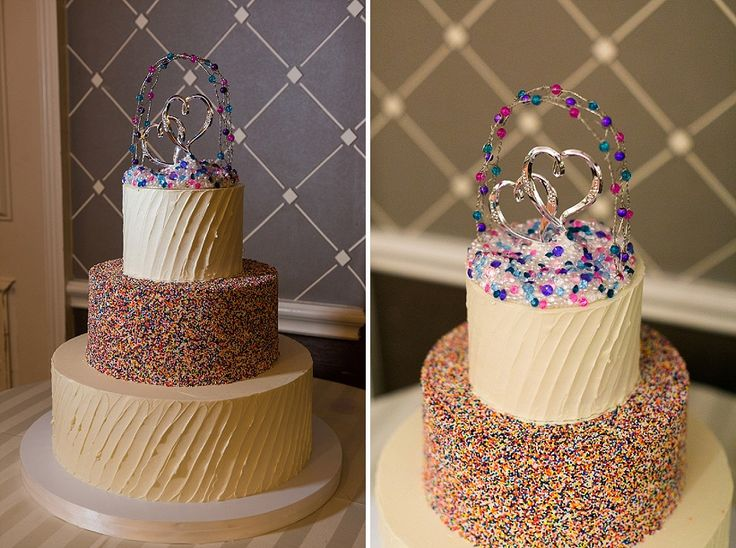 Funfetti rainbox sprinkle modern wedding cake! Kristin & Breana's Intimate, Colorful Wedding at Hotel Monaco in Alexandria, VA | Capitol Romance ~ Real DC Weddings | Images: Gosling Photography