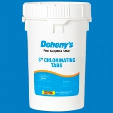 """MADE IN THE USA! Swimming Pool Chlorine - 3"""" Tabs. 5-star customer rating, and a key to pool maintenance. Find all of your swimming pool equipment and pool chemical needs at www.doheny.com"""