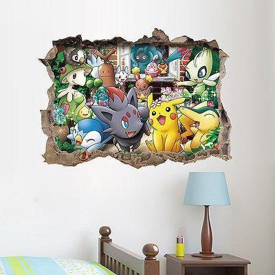 Pokemon Go Wall Sticker 3D Art Vinyl Decal Sticker Kids Nursery Room Decor Cartoon Wallpaper