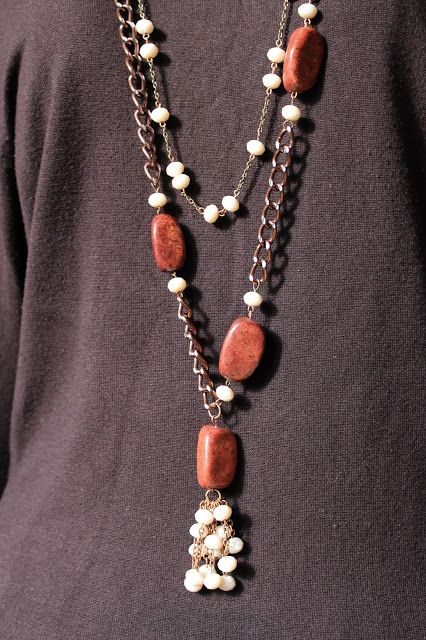 Doğal Taş, Zincir ve Kristalli Uzun Kolye Takımı  Neclace with White Kristals,Brown Natural Stones, Brown Chain FOR SALE