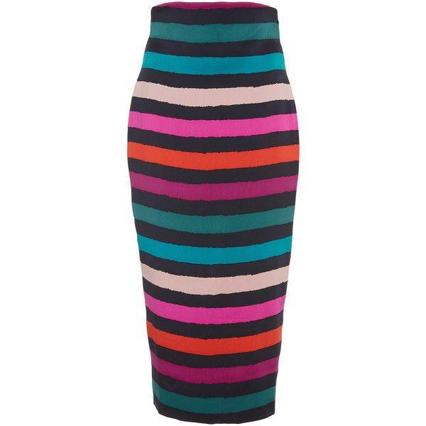 Leal Daccarett Guatape Pencil Skirt (3.305 BRL) ❤ liked on Polyvore featuring skirts, stripe, silk pencil skirt, stripe skirt, high-waist skirt, silk skirt and high rise skirts