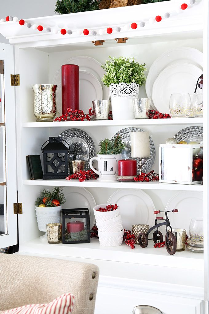 Don't miss our classic Christmas hutch decor -- so much inspiration for your holiday decorating!