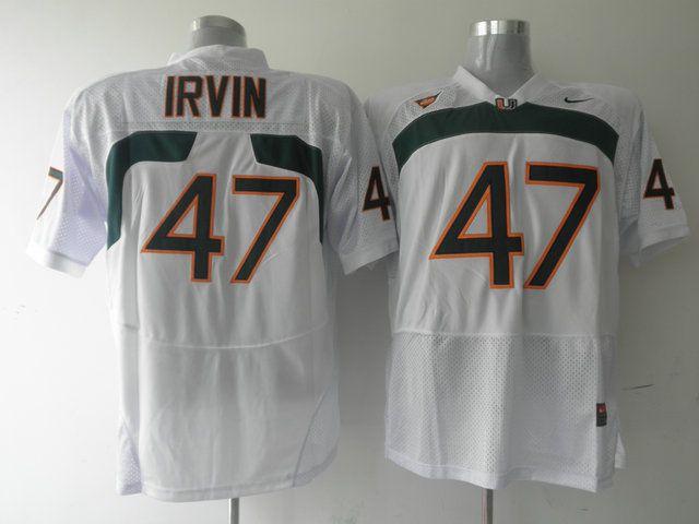 Men's NCAA Miami Hurricanes #47 Michael Irvin White Jersey