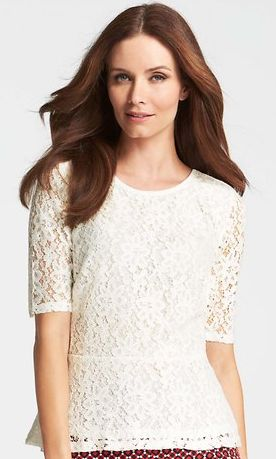 simply perfect | white lace peplum blouse