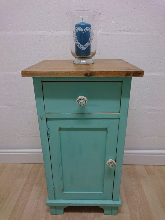 Aqua Turquoise Pale Green Bedside Table Cabinet Small Cupboard