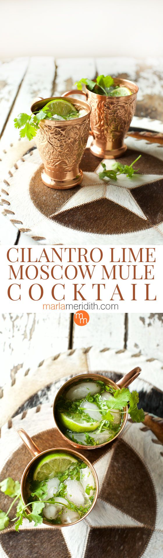 Cilantro Lime Moscow Mule Cocktail recipe, a refreshing drink for Cinco de Mayo & backyard BBQ's. MarlaMeridith.com ( @marlameridith )