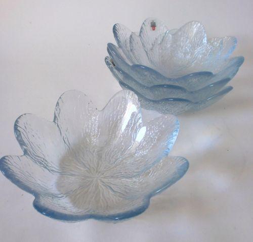 4-x-Holmegaard-Glas-Schale-20cm-Koral-set-bowl-glass-Sidse-Werner-annees-80