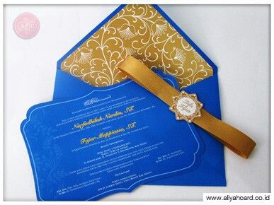 Blue-gold invitations