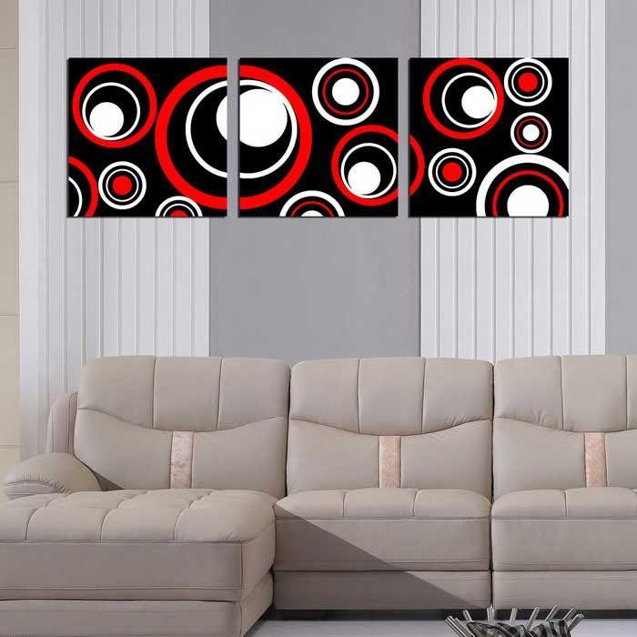 Bizhen Frame-free Abstract Circle Painting Canvas Wall Decor Murals 3 Panels (59.06