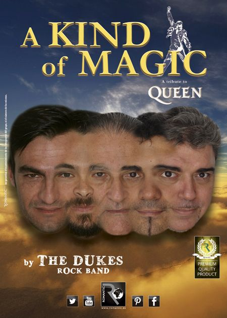 """Manolo Guerra, ex-componente de la mítica banda Supermax, y guitarra de artistas como Manolo Tena, Javier Andreu, Fortu, Javier Ojeda, etc... nos presenta, la banda The Dukes .  The Dukes cuenta con un elenco de 5 artistas que cubren todos los éxitos del género rock con talento y carisma. Esta temporada, Manolo Guerra & Co. nos hacen sentir el poder de este estilo musical con """"A Kind of Magic""""  tributo a Queen."""