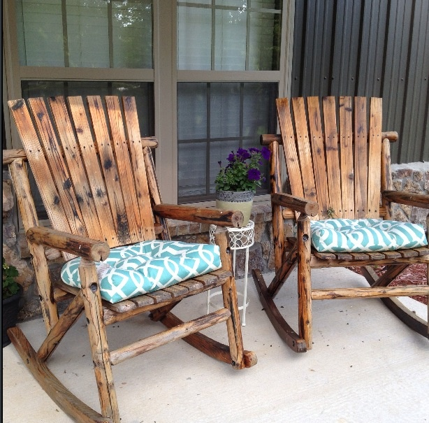 Rocking chairs on front porch with my Home Goods cushions!!