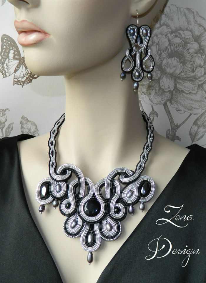 "New! Colier şi cercei soutache ""Black and Grey"" 