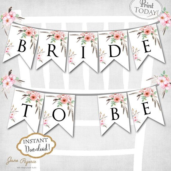 Decorate your special guest seat with this pretty printable Bride To Be Banner. This watercolor boho floral design is perfect for a spring or summer bohemian bridal shower. INSTANT DOWNLOAD. For more coordinating paper goods visit Jane Paperie Etsy Store https://www.etsy.com/shop/JanePaperie