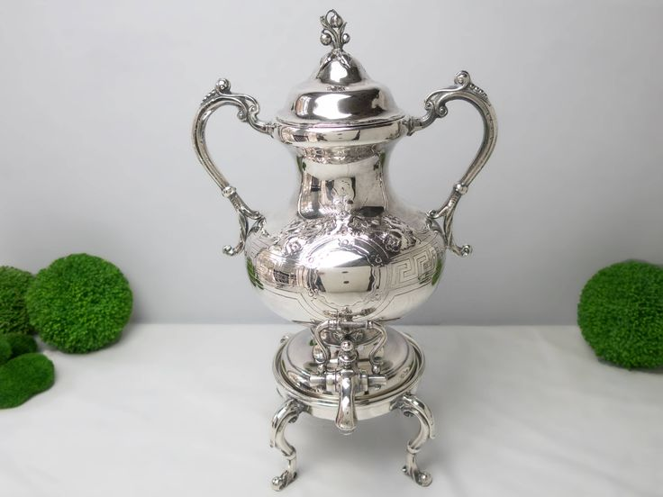 Antique Chased Ornate Silver Plate Samovar Urn Coffee Tea Warmer Hot Water Dispenser Rare by InventifDesigns on Etsy