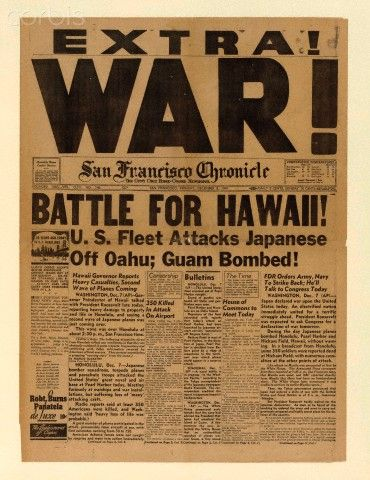 Alternate edition from Dec 8, 1941, following the Japanese attack on Pearl Harbor, Hawaii during World War II.