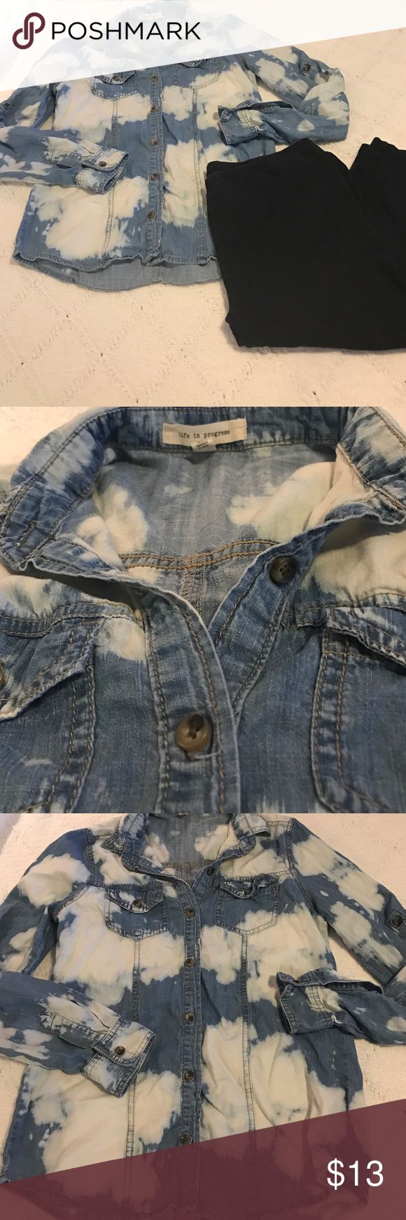 Life in Progress size small denim long sleeve top Cute and fun! Long sleeve denim top by Life in Progress. Size small. Good ore loved condition from smoke free home. Pants for display only. (BIN 4) Life in Progress Tops Button Down Shirts
