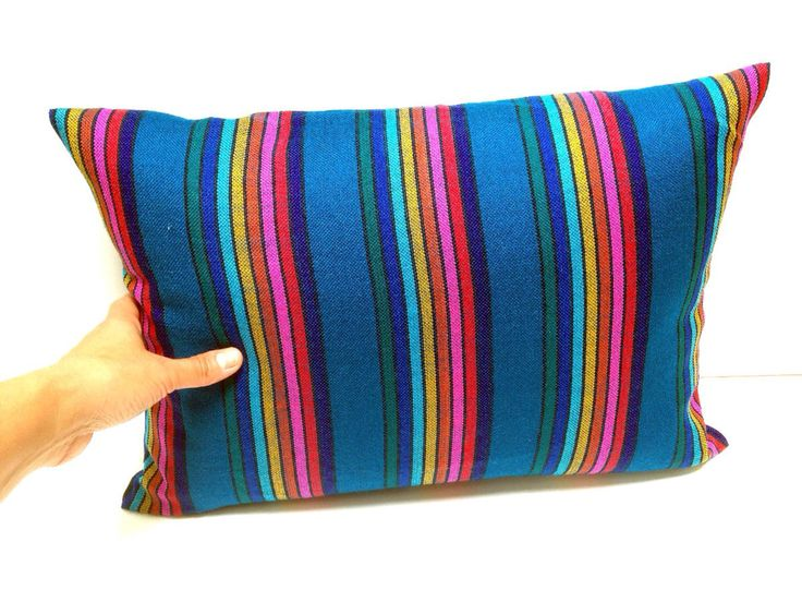 Mexican Pillow Cover - 12x16 Teal Stripes Aztec Cushion - Tribal Home Decor - Bedding  - Blue rainbow Embroidered Cambaya Fabric Housewares by NellywithWings on Etsy