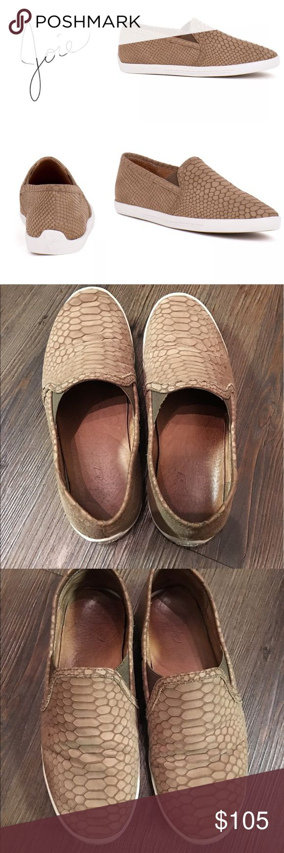Joie Kidmore Slip On Sneaker Gravel (Brown) Python The street wear staple gets a chic update in leather. An off duty classic with luxe appeal, our Kidmore slip on sneaker is a wardrobe must!  * Size 7.0 * EUC - Leather soft from wear, but no flaws or defects! Joie Shoes Sneakers