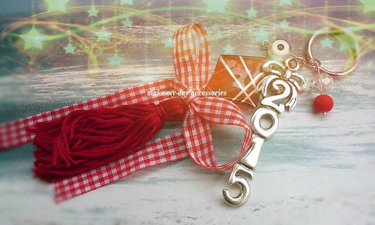 https://www.facebook.com/make.my.day.accessories #lucky_charms #2015 #handmade red dot ribbon and tassel