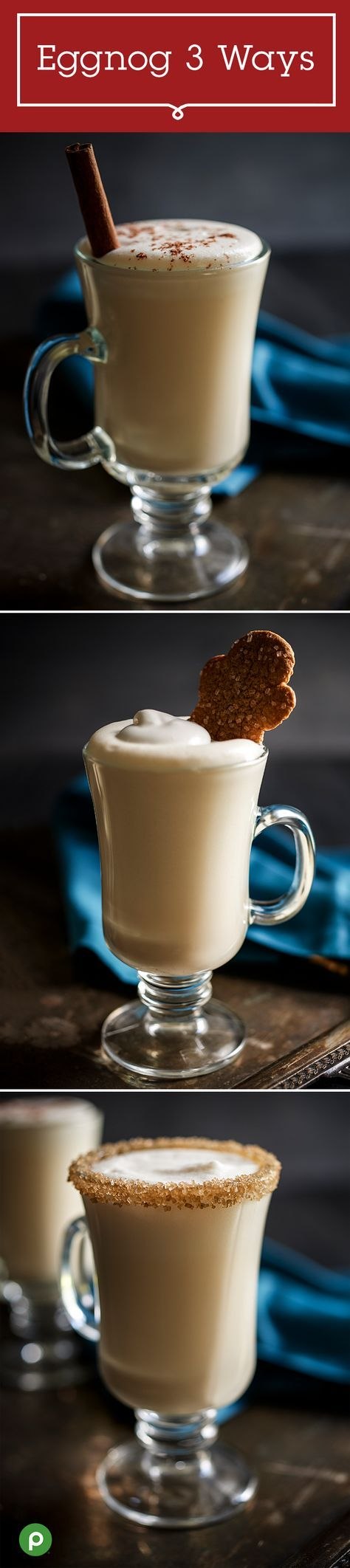 Enjoy three unique twists on a traditional Christmas eggnog with this Publix recipe for Eggnog Garnishes. Make yours with nutmeg, cinnamon, and whipped topping, or try whipped topping with a gingerbread cookie. Or keep it classy with whipped topping rimmed with sugar. Make all three and let your guests pick their favorite.