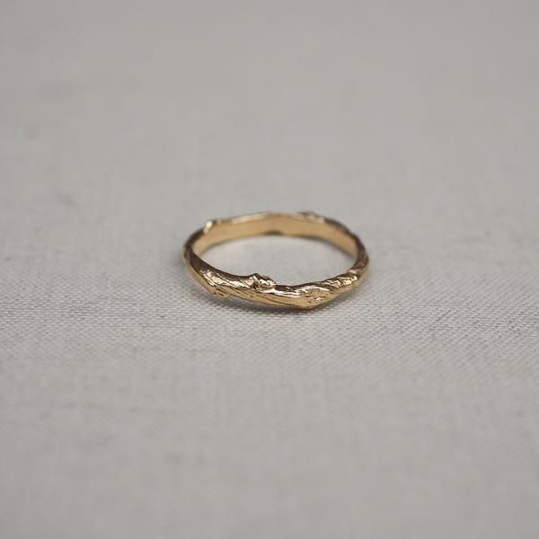 Solid Gold Hawthorn Twig Infinity Ring 14k