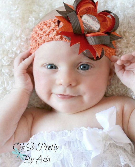 Babys First Thanksgiving Hair Bow  by OhSoPrettyByAsia on Etsy, $6.00