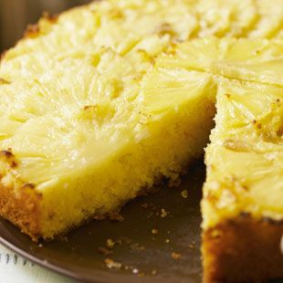 Create this beautiful upside down pineapple cake by layering thin, fresh slices on the bottom of your cake tin with the fluffy cake mixture on top. | Tesco