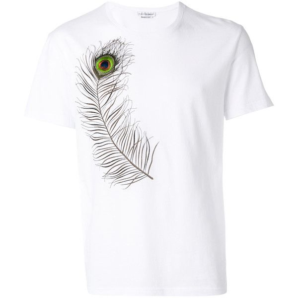 Alexander McQueen feather printed T-shirt (1.310 BRL) ❤ liked on Polyvore featuring men's fashion, men's clothing, men's shirts, men's t-shirts, white, mens leopard print t shirt, mens short sleeve shirts, alexander mcqueen men's t shirt, mens white t shirts and mens patterned shirts