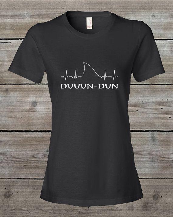 EKG Shark Fin Duun-Dun Jaws T-Shirt Shark by SharkLifeClothingCo