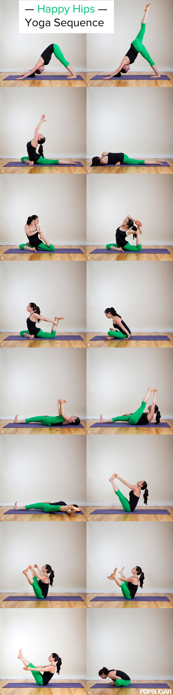 Happy Hips Yoga Sequence - Runners and the deskbound rejoice! Your tight hips will soon feel more open and relaxed. Just step onto your yoga mat or even the floor next to your computer and move through this 16-pose hip-opening sequence.