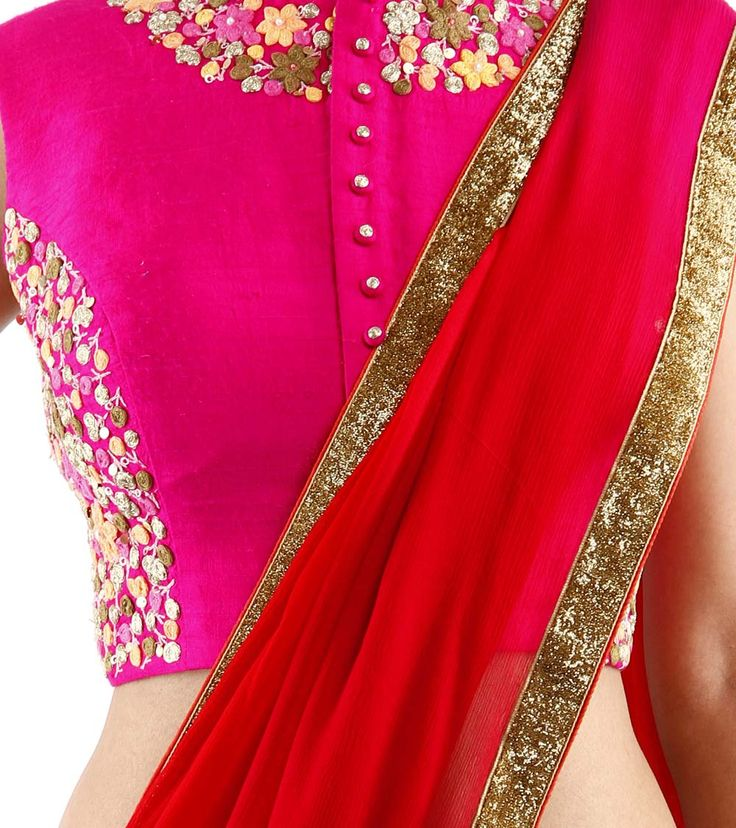 Red & Pink Ombre Shaded Silk & Chiffon Saree With Embroidered Blouse