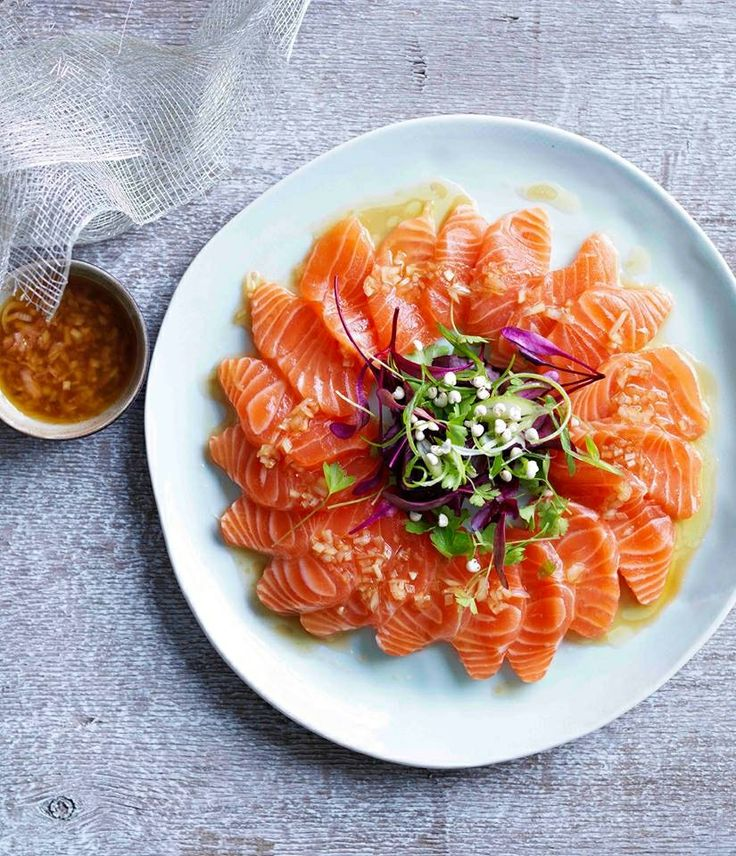 473 best all about salmon images on pinterest japanese food with spicy wasabi and a zingy yuzu and white soy dressing this easy salmon sashimi recipe makes a great dinner party starter ccuart Gallery