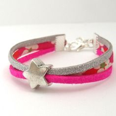 Bracelet liberty enfant fille - taille 4/7 ans - tissu mitsi rose et suédine rose argenté - étoile