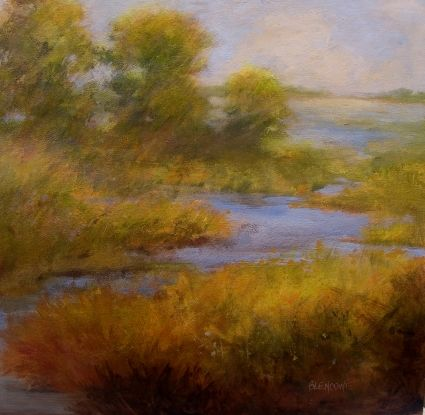 Modern Impressionist Landscape Painting Marsh Water and Trees