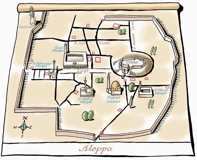 Aleppo Map - Syria by Bill Wood