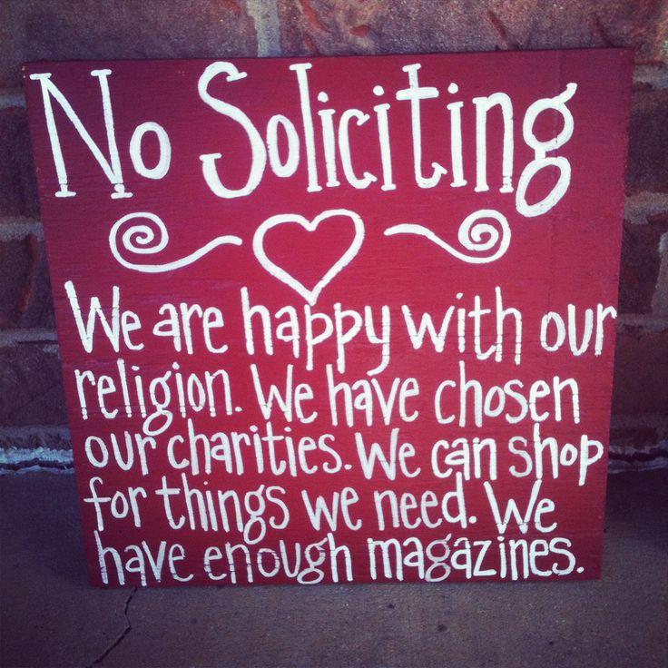 No Soliciting Sign. $25.00, via Etsy.