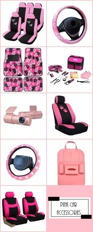 PINK up your car with PINK car accessories. PINK car seat covers, steering wheel covers, floor mats, emergency roadside kit, dash cam, seat organizer, and more.