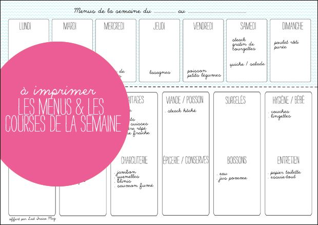 A imprimer : les menus et les courses de la semaine