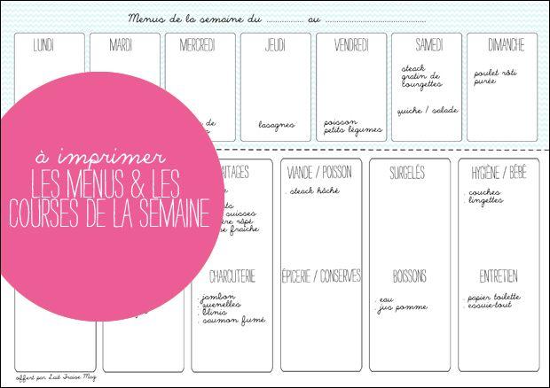 A imprimer : les menus et les courses de la semaine - Lait Fraise Mag